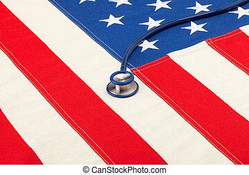 Stethoscope over USA flag