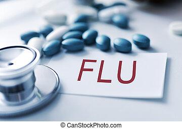 stethoscope, pills and word flu