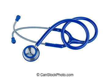 stethoscope - a blue stethoscope lying on a white...