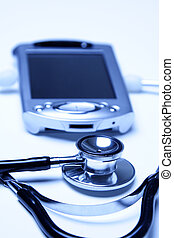 Stethoscope and PDA in an blue tone