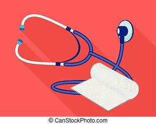 Stethoscope swathe icon, flat style - Stethoscope swathe...