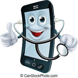 stethoscope, telefoon, karakter, spotprent, vasthouden