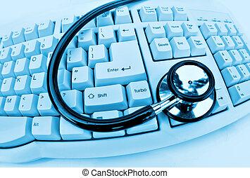 stethoscope, toetsenbord