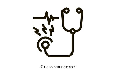 stethoscope tool Icon Animation. black stethoscope tool animated icon on white background