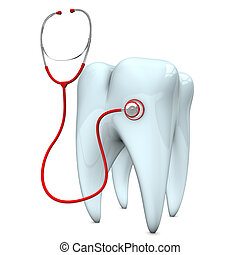 Stethoscope Tooth - Red stethoscope with white tooth on the...