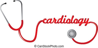 red stethoscope cardiology text isolated vector illustration