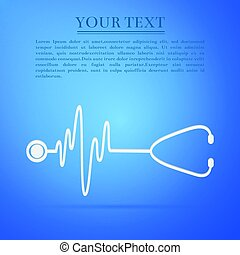 Stethoscope with a heart beat flat icon on blue background. Vector Illustration