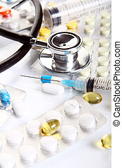Stethoscope with different pharmaceutical stuff