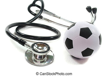 Stethoscope with football on a white background