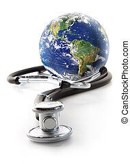 Stethoscope with globe on  white
