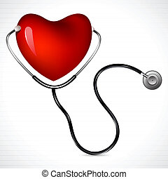 Stethoscope with Heart - illustration of stethoscope on...