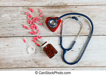 stethoscope with heart , health concept photo
