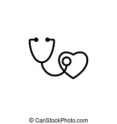 stethoscope with heart icon on white background