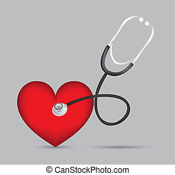 Stethoscope with heart illustration in 3d, vector ...