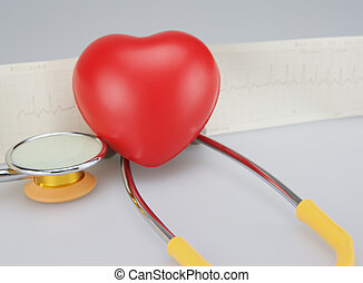 Stethoscope with heart on ECG background