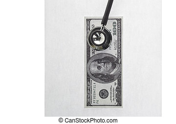 stethoscope with hundred dollar bill