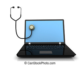 Stethoscope with laptop computer . 3d illustration