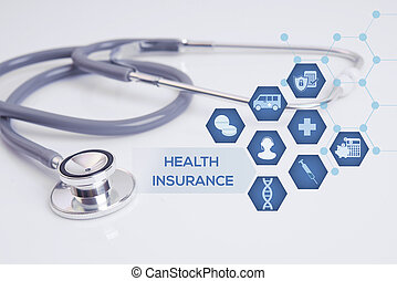 stethoscope with medical icon. concept insurance.