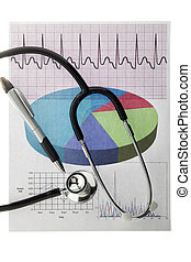 Stethoscope with medical report and pen displayed on white.
