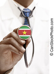 Stethoscope with national flag conceptual series - Republic of Suriname
