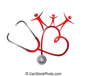 stethoscope with people isolated over white background. vector