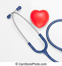 Stethoscope with red heart - studio shoot on white - 1 to 1 ratio