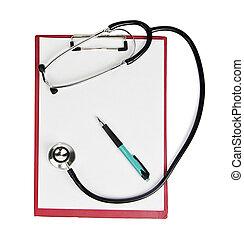 stethoscope,clipboard,pen