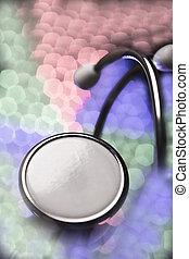 stethoskop, auf, mehrfarbig, hintergrund, fokus
