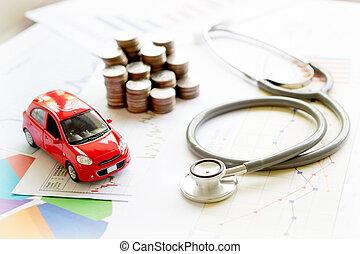 stethoskop, auto, schaubild, und, muenze