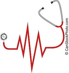 stethoskop, elektrokardiogramm, -
