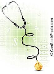 stethoskop, formung, dollar, form