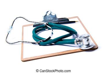 stethoskop, &, klemmbrett