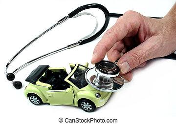 stethoskop, mit, auto