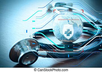 stethoskop, und, beschaffenheit, erdball, mit, digital tablette, als, medizin, vernetzung, begriff