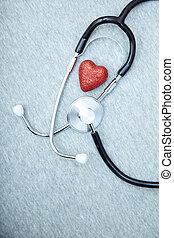 stethoskop, und, herz