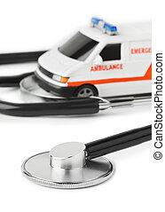stethoskop, und, spielzeug, krankenwagen, auto