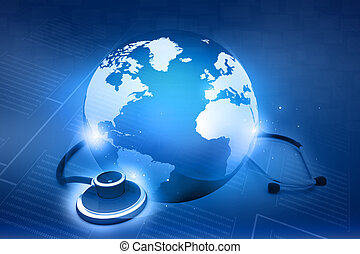 stethoskop, und, world., globale gesundheitsfürsorge,...