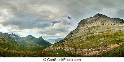 stetind, norways, vallée, panorama, montagne, national