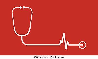 stetoscopio, analisi, cardiologia