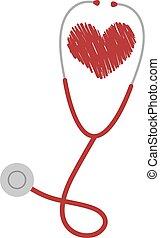 stetoscopio, cuore, illustrazione