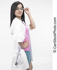 stetoscopio, dottore femmina