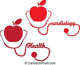 stetoskop, äpple, röd