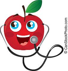 stetoskop, äpple, tecknad film