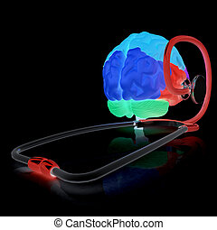 stetoskop, a, brain., 3, ilustrace