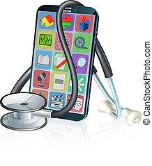 stetoskop, ambulant, medicinsk, telefon, sundhed, konstruktion, app