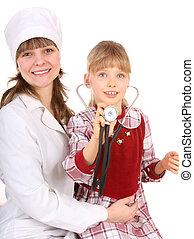 stetoskop, child., doktor