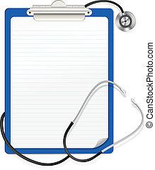 stetoskop, clipboard