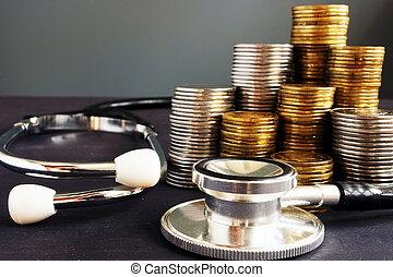 stetoskop, concept., kosta, pengar., sjukvård