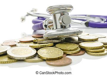 stetoskop, hen, euro, mønter
