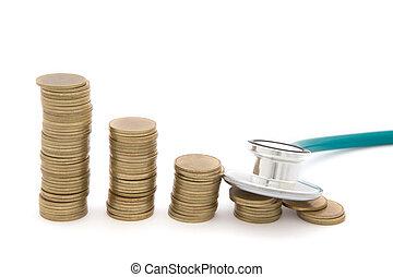 stetoskop, hen, mønter., begreb, i, sparepenge, ond., økonomi
